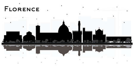 Florence Italy City Skyline Silhouette with Black Buildings and Reflections Isolated on White. Vector Illustration. Travel and Tourism Concept with Modern Architecture. Florence Cityscape with Landmarks.