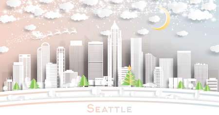 Seattle Washington USA City Skyline in Paper Cut Style with Snowflakes, Moon and Neon Garland. Vector Illustration. Christmas and New Year Concept. Santa Claus on Sleigh. Vector Illustration