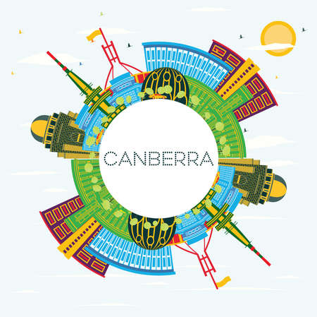 Canberra Australia City Skyline with Color Buildings, Blue Sky and Copy Space. Vector Illustration. Business Travel and Tourism Concept with Modern Architecture. Canberra Cityscape with Landmarks.