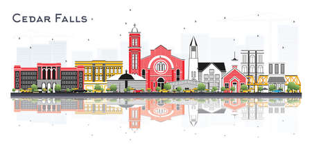 Cedar Falls Iowa Skyline with Color Buildings and Reflections Isolated on White. Vector Illustration. Business Travel and Tourism Illustration with Historic Architecture.