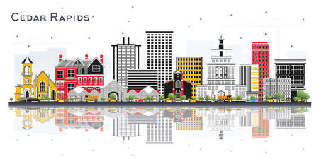 Cedar Rapids Iowa Skyline with Color Buildings and Reflections Isolated on White Background. Vector Illustration. Business Travel and Tourism Illustration with Historic Architecture. Illusztráció
