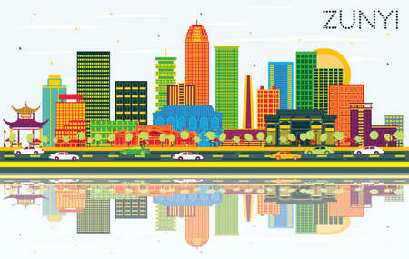 Zunyi China City Skyline with Color Buildings, Blue Sky and Reflections. Vector Illustration. Business Travel and Tourism Concept with Modern Architecture. Zunyi Cityscape with Landmarks. Vektorové ilustrace