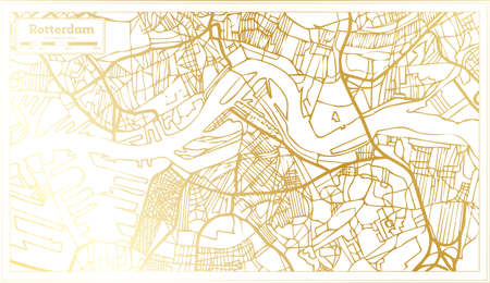 Rotterdam Netherlands City Map in Retro Style in Golden Color. Outline Map. Vector Illustration.