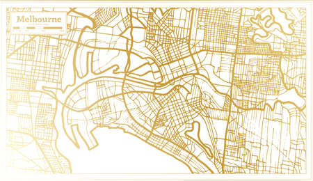 Melbourne Australia City Map in Retro Style in Golden Color. Outline Map. Vector Illustration.