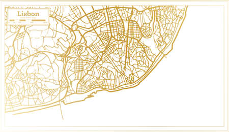 Lisbon Portugal City Map in Retro Style in Golden Color. Outline Map. Vector Illustration. 免版税图像 - 154949991