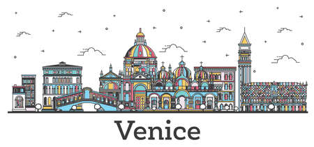 Outline Venice Italy City Skyline with Color Buildings Isolated on White. Vector illustration. Venice Cityscape with Landmarks.
