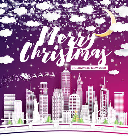 Christmas Flyer with New York USA City Skyline in Paper Cut Style. Vector Illustration. Holiday Banner for Night Party or New Year Event. Xmas Sparkling Lights Garland. Greeting Card.