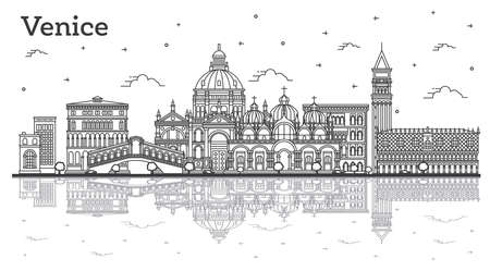 Outline Venice Italy City Skyline with Historic Buildings and Reflections Isolated on White. Vector illustration. Venice Cityscape with Landmarks. Vettoriali