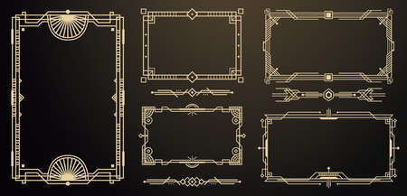 Set of Art Deco Frames and Borders. Decorative Elements. Vector Illustration. Style of 1920s. Stock fotó - 155373469