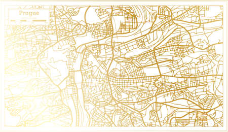 Prague Czech Republic City Map in Retro Style in Golden Color. Outline Map. Vector Illustration.