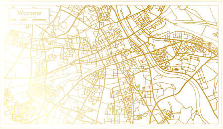 Warsaw Poland City Map in Retro Style in Golden Color. Outline Map. Vector Illustration.