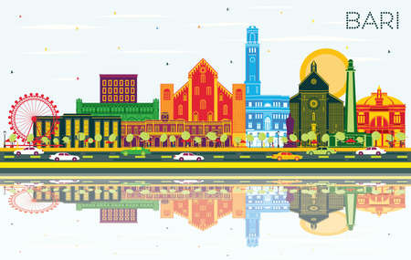Bari Italy City Skyline with Color Buildings, Blue Sky and Reflections. Vector Illustration. Business Travel and Tourism Concept with Modern Architecture. Bari Cityscape with Landmarks.