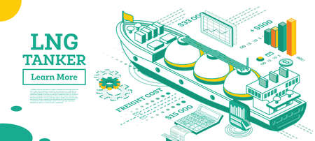LNG Tanker. Isometric Gas Tanker. Commercial Water Transport. Vector Illustration. Infographic Element of Logistics System. Shipping Freight Transportation. Logistics and Delivery Concept.