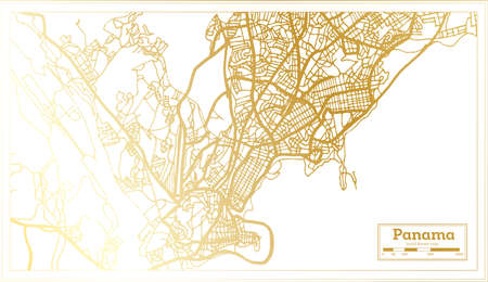 Panama City Map in Retro Style in Golden Color. Outline Map. Vector Illustration.