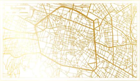 Bologna Italy City Map in Retro Style in Golden Color. Outline Map. Vector Illustration. Illusztráció