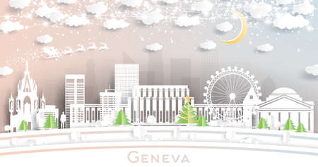 Geneva Switzerland City Skyline in Paper Cut Style with Snowflakes, Moon and Neon Garland. Vector Illustration. Christmas and New Year Concept. Santa Claus on Sleigh.