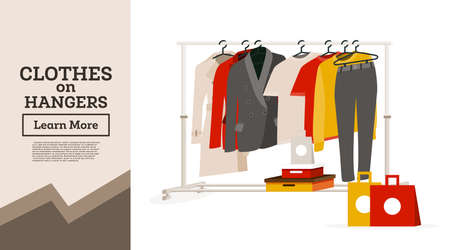 Woman's Clothes Hanging on Hangers. Gift Boxes and Bags Next to It. Vector Illustration. Garment Rack Isolated on White Background.