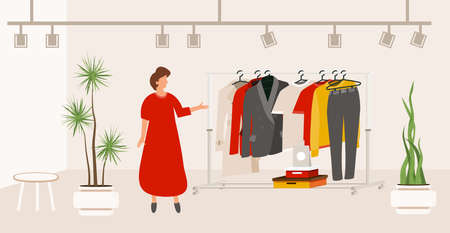 Modern Fashion Clothes Store. Boutique Interior with Clothers on Hangers. Showroom in Flat Design Style. Vector Illustration. Seller in Red Dress Stand between Houseplants in Pots