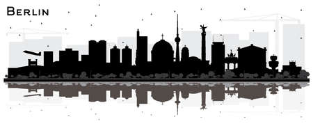 Berlin Germany Skyline Silhouette with Black Buildings and Reflections Isolated on White. Vector Illustration. Business Travel and Tourism Concept with Historic Architecture. Berlin Cityscape with Landmarks.