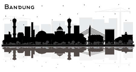 Bandung Indonesia City Skyline Silhouette with Black Buildings and Reflections Isolated on White. Vector Illustration. Business Travel and Tourism Concept with Historic Architecture. Bandung Cityscape with Landmarks.