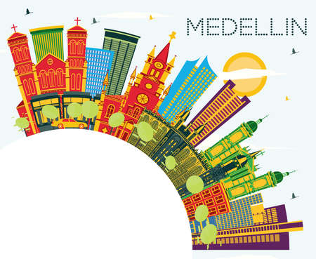 Medellin Colombia City Skyline with Color Buildings, Blue Sky and Copy Space. Vector Illustration. Business Travel and Tourism Concept with Historic Buildings. Medellin Cityscape with Landmarks. Vettoriali
