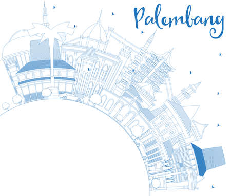 Outline Palembang Indonesia City Skyline with Blue Buildings and Copy Space. Vector Illustration. Business Travel and Tourism Concept with Historic Architecture. Palembang Cityscape with Landmarks. Vettoriali