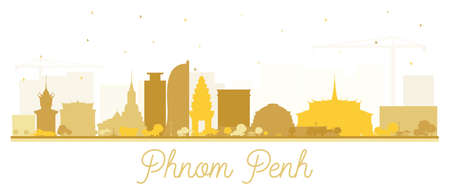 Phnom Penh Cambodia City Skyline Silhouette with Golden Buildings Isolated on White. Vector Illustration. Tourism Concept with Historic Architecture. Phnom Penh Cityscape with Landmarks.