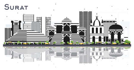 Surat India City Skyline with Color Buildings and Reflections Isolated on White. Vector Illustration. Business Travel and Tourism Concept with Historic Architecture. Surat Cityscape with Landmarks.
