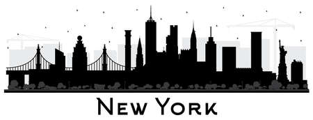 New York USA City Skyline Silhouette with Black Buildings Isolated on White. Vector Illustration. New York Cityscape with Landmarks. Business Travel and Tourism Concept with Modern Architecture. Vettoriali