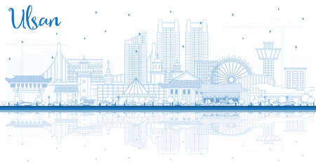 Outline Ulsan South Korea City Skyline with Blue Buildings and Reflections. Vector Illustration. Business Travel and Tourism Concept with Historic and Modern Architecture. Ulsan Cityscape with Landmarks. Vettoriali