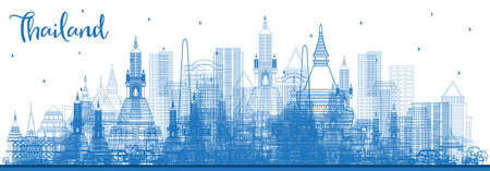 Outline Thailand City Skyline with Blue Buildings. Vector Illustration. Tourism Concept with Historic Architecture. Thailand Cityscape with Landmarks.