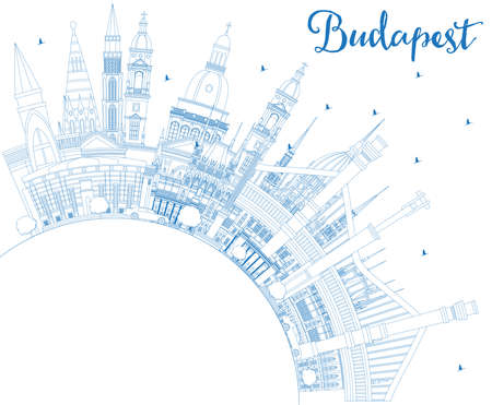 Outline Budapest Hungary City Skyline with Blue Buildings and Copy Space. Vector Illustration. Business Travel and Tourism Concept with Historic Architecture. Budapest Cityscape with Landmarks. Vettoriali