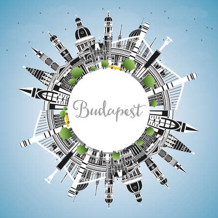 Budapest Hungary City Skyline with Gray Buildings, Blue Sky and Copy Space. Vector Illustration. Business Travel and Tourism Concept with Historic Architecture. Budapest Cityscape with Landmarks.