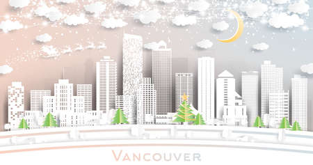 Vancouver Canada City Skyline in Paper Cut Style with Snowflakes, Moon and Neon Garland. Vector Illustration. Christmas and New Year Concept. Santa Claus on Sleigh.