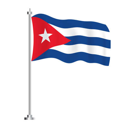 Cuban Flag. Isolated Wave Flag of Cuba Country. Vector Illustration.