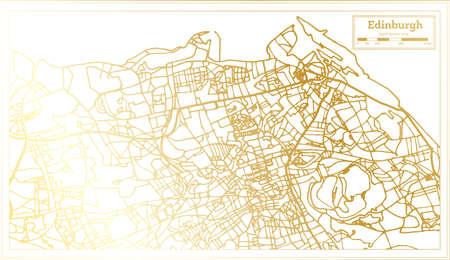 Edinburgh Scotland City Map in Retro Style in Golden Color. Outline Map. Vector Illustration.