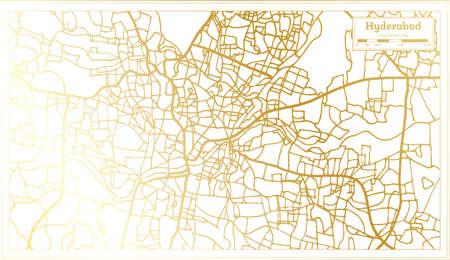 Hyderabad India City Map in Retro Style in Golden Color. Outline Map. Vector Illustration. Ilustração