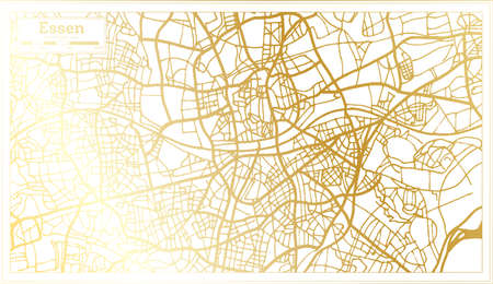Essen Germany City Map in Retro Style in Golden Color. Outline Map. Vector Illustration.