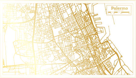Palermo Sicily City Map in Retro Style in Golden Color. Outline Map. Vector Illustration.