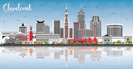 Cleveland Ohio City Skyline with Color Buildings, Blue Sky and Reflections. Vector Illustration. Cleveland USA Cityscape with Landmarks. Business Travel and Tourism Concept with Modern Architecture.