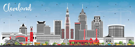 Cleveland Ohio City Skyline with Color Buildings and Blue Sky. Vector Illustration. Cleveland USA Cityscape with Landmarks. Business Travel and Tourism Concept with Modern Architecture. Vektorové ilustrace