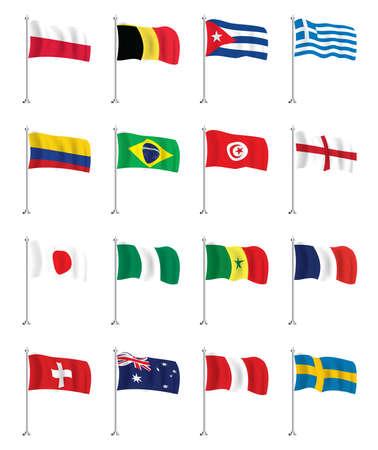 Flags Icons Set. Colombia, Brazil, Poland, Belgium, Cuba, Greece, Tunisia, England, Japan, Nigeria, Senegal, France, Switzerland, Australia, Peru and Sweden. Isolated Wave Flags. Vector Illustration. 向量圖像