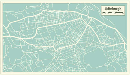 Edinburgh Great Britain (United Kingdom) City Map in Retro Style. Outline Map. Vector Illustration. Ilustrace