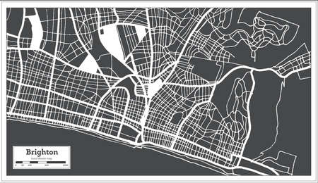 Brighton Great Britain City Map in Black and White Color in Retro Style. Outline Map. Vector Illustration.