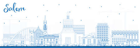 Outline Salem Oregon City Skyline with Blue Buildings. Vector Illustration. Salem USA Cityscape with Landmarks. Business Travel and Tourism Concept with Modern Architecture.