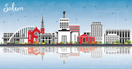 Salem Oregon City Skyline with Color Buildings, Blue Sky and Reflections. Vector Illustration. Salem USA Cityscape with Landmarks. Business Travel and Tourism Concept with Modern Architecture. Ilustrace