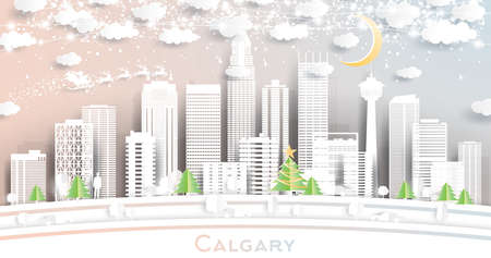 Calgary Canada City Skyline in Paper Cut Style with Snowflakes, Moon and Neon Garland. Vector Illustration. Christmas and New Year Concept. Santa Claus on Sleigh.