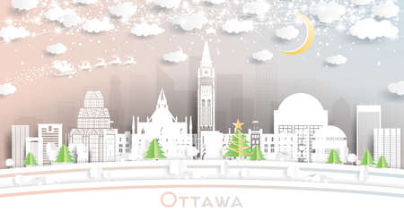 Ottawa Canada City Skyline in Paper Cut Style with Snowflakes, Moon and Neon Garland. Vector Illustration. Christmas and New Year Concept. Santa Claus on Sleigh.