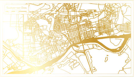 Rostov on Don Russia City Map in Retro Style in Golden Color. Outline Map. Vector Illustration.