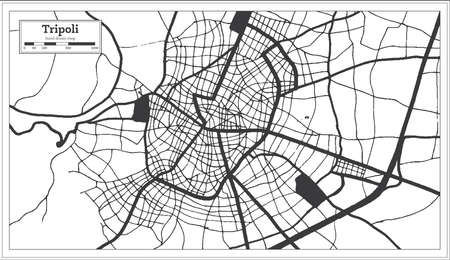 Tripoli Greece City Map in Black and White Color in Retro Style. Outline Map. Vector Illustration.